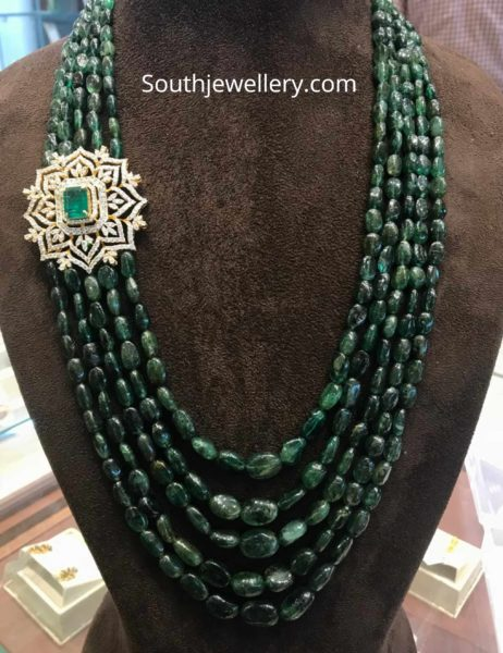 emerald beads long necklace with diamond side pendant