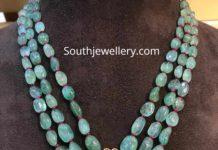 emerald beads long necklace with kundan pendant