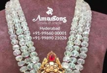 emerald beads mala with lakshmi pendant