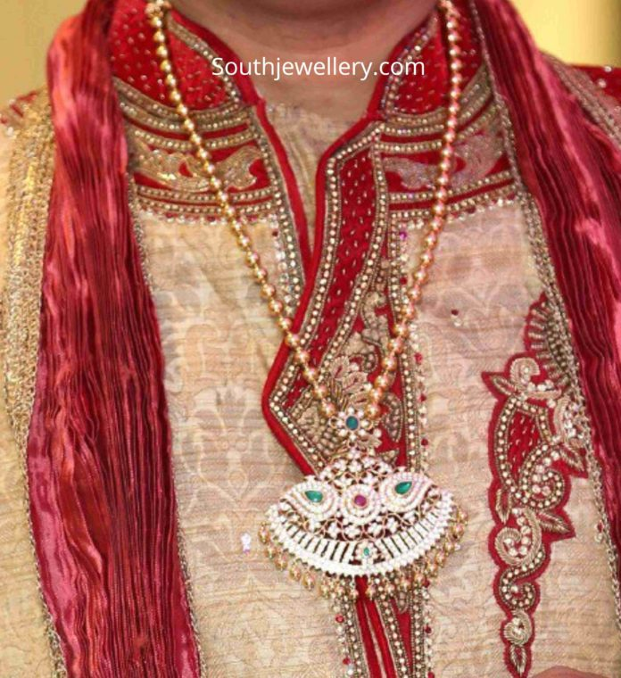 gold balls chain with diamond pendant tanishq