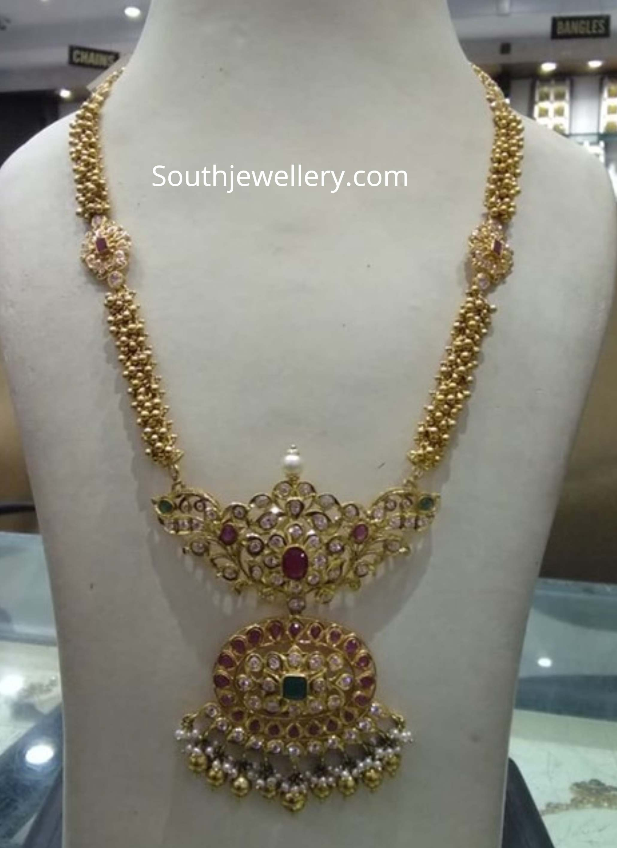 22k Gold Simple Long Necklace Designs Indian Jewellery Designs
