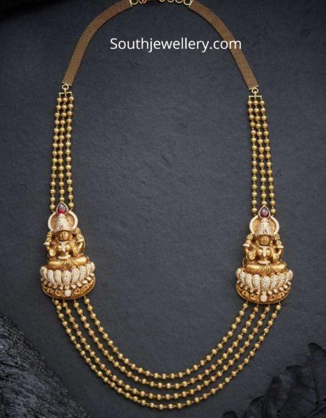 gold balls necklace with lakshmi side pendants
