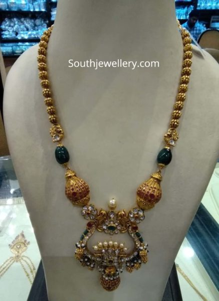 gold long necklace designs