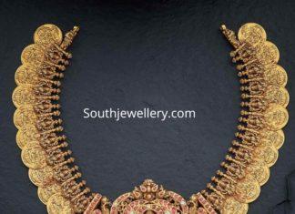 lakshmi kasu necklace with lakshmi pendant