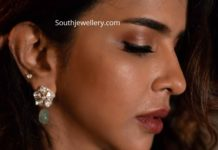lakshmi manchu polki diamond emerald necklace