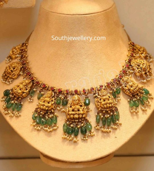 lakshmi necklace with rubies and emeralds