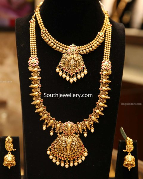 latest gold necklace and haram designs 2019
