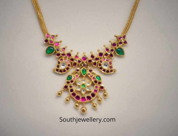 light weight kundan necklace 22k gold (3)