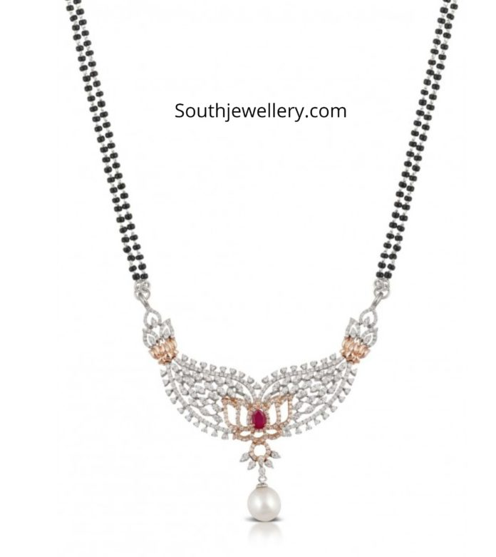 mangalsutra chain with diamond pendant