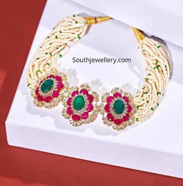 pearl choker with floral kundan pendant