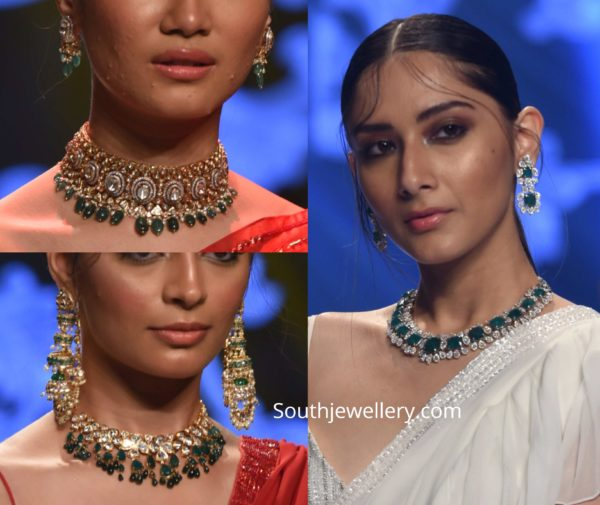 polki diamond and emerald necklace sets