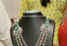 diamond emerald haram and jhumkas