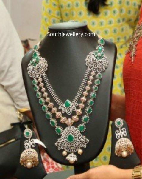 diamond emerald haram and jhumkas