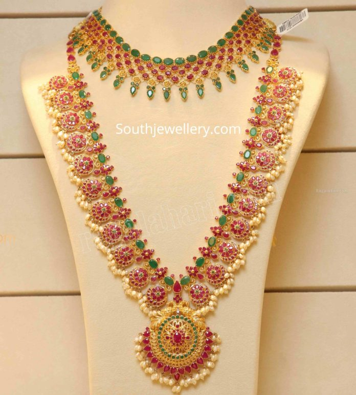 ruby emerald necklace and haram