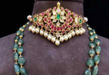 ruby polki choker and emerald beads haram