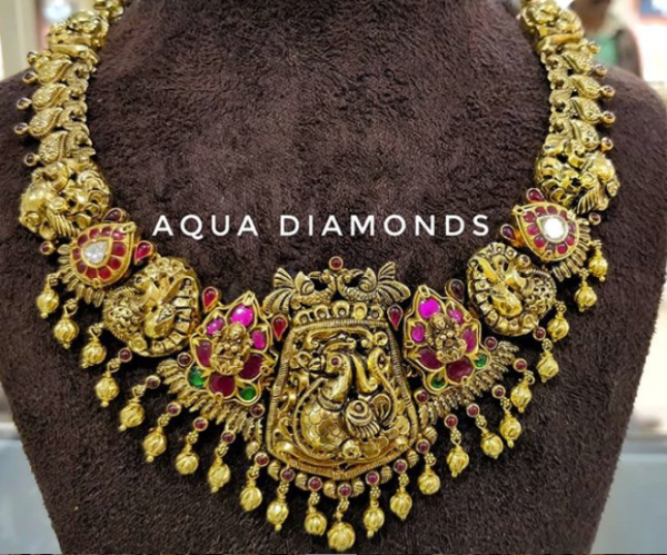 antique gold nakshi peacock necklace