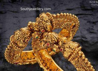antique gold nakshi kada bangles