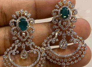 diamond emerald chandbali jhumkas