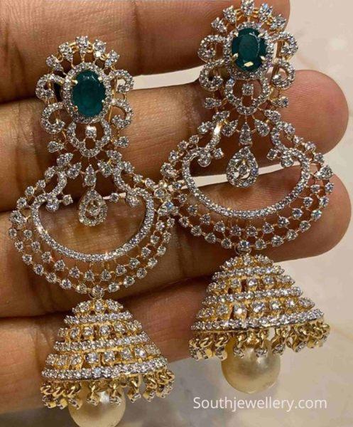 diamond emerald chandbali jhumkas
