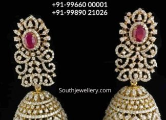 diamond ruby jhumkas