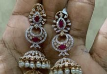 diamond step jhumkas