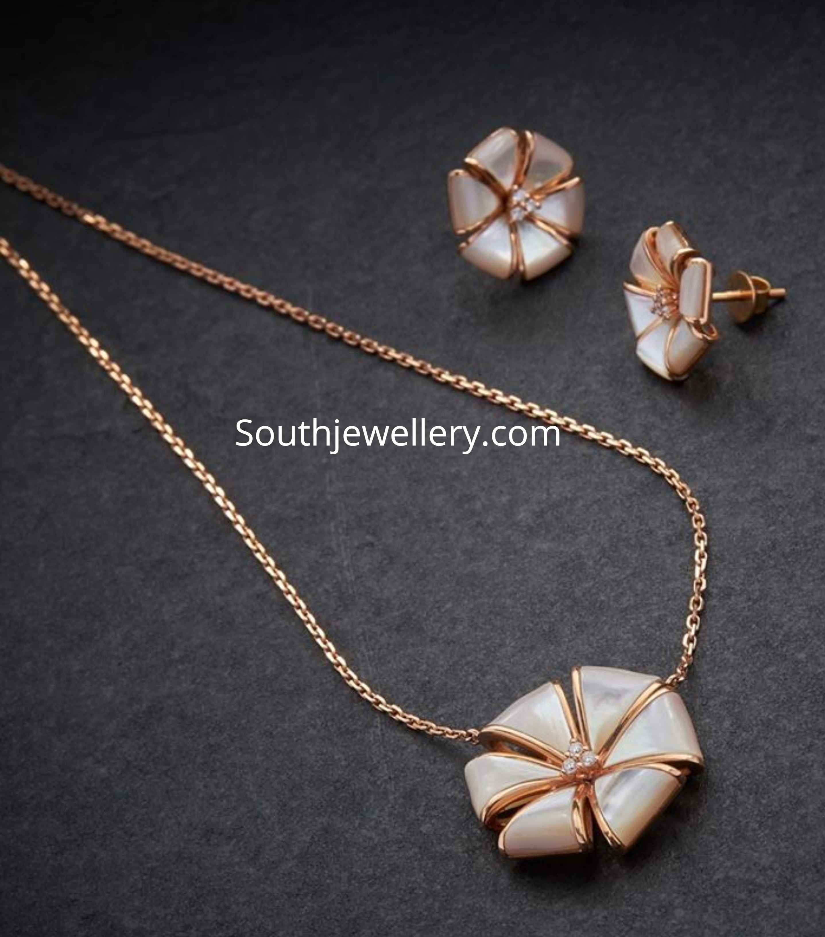 Fancy Gold Floral Chain And Studs Set Indian Jewellery Designs