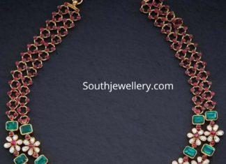 floral polki emerald necklace