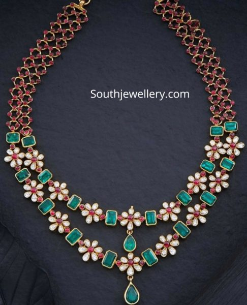 floral polki emerald necklace