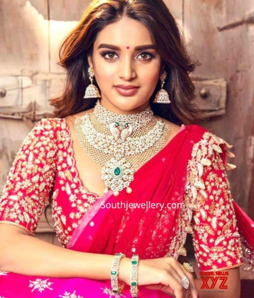 nidhhi agerwal in diamond jewellery