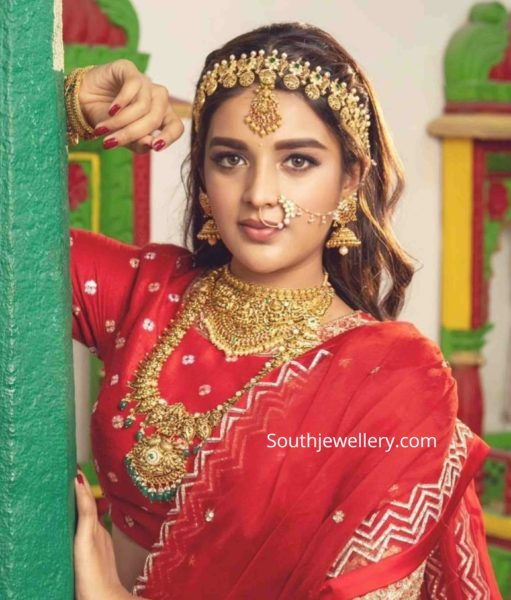 nidhhi agerwal in gold jewellery