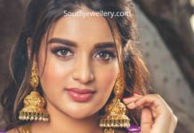 nidhhi agerwal in temple jewellery