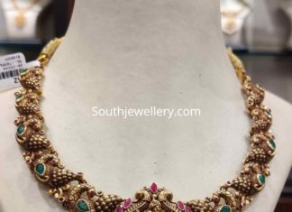 peacock necklace with krishna pendant