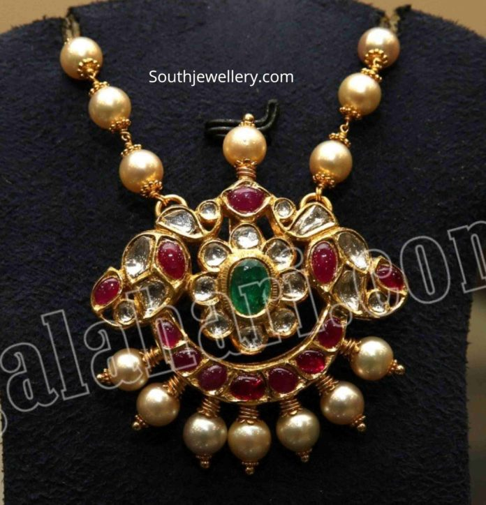 pearl chain with kundan pendant
