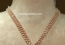 pearl necklace with ruby diamond pendant