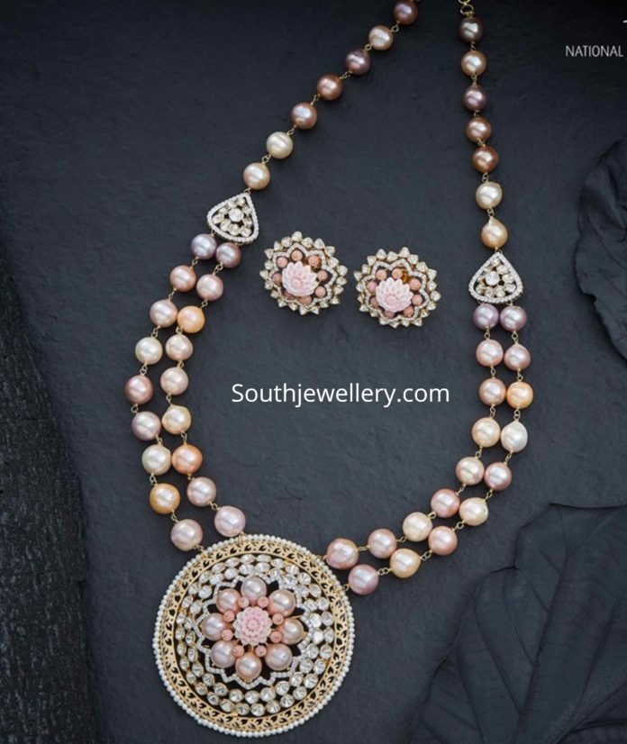 pink south sea pearl necklace with polki pendant