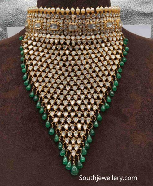 polki diamond bib necklace