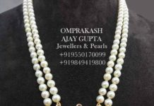 two line pearl necklace with polki pendant