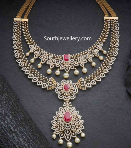 two step diamond ruby necklace