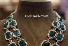 zambian emerald and diamond layered necklace
