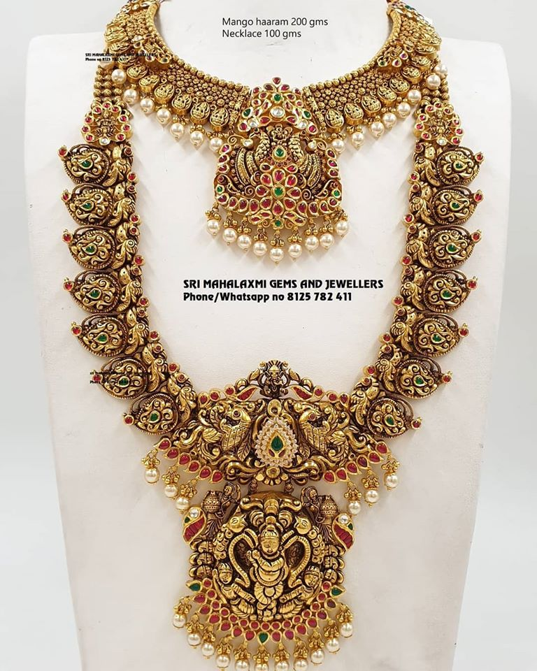 Traditional Gold Necklace And Haram Indian Jewellery Designs