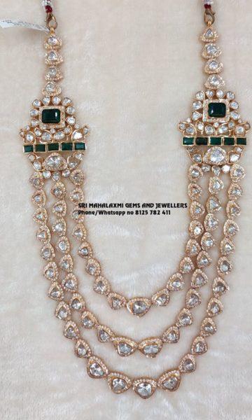 polki diamond long necklace