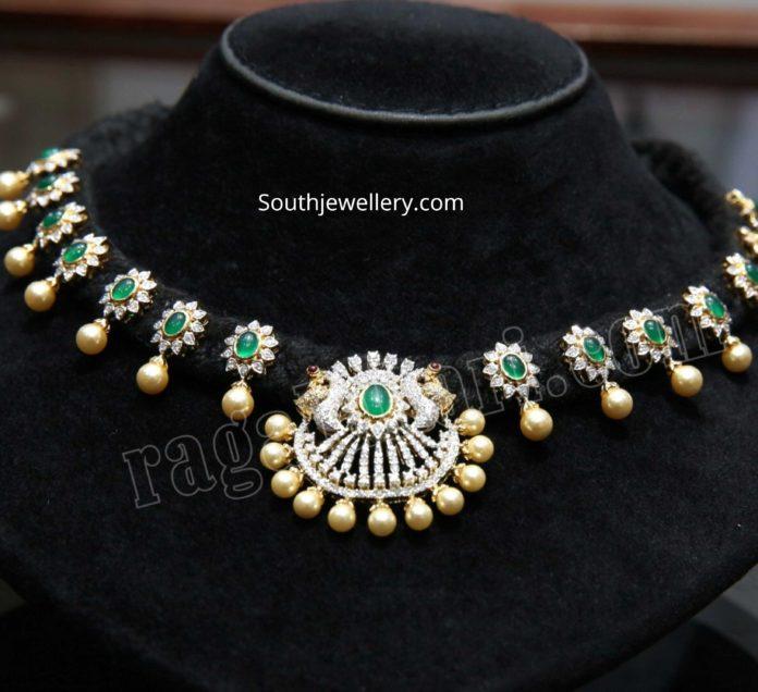 black thread necklace with diamond emerald pendants