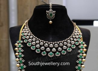 diamond emerald necklace and haram set