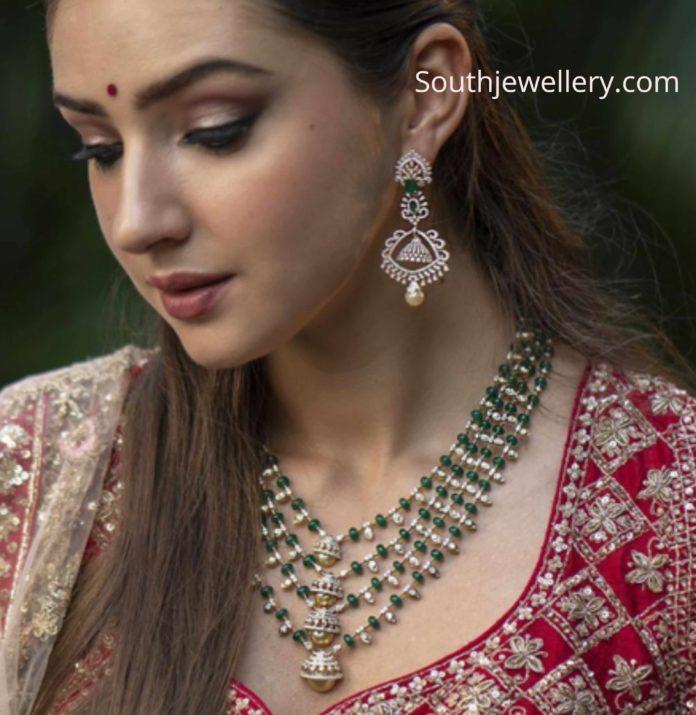 diamond emerald necklace set