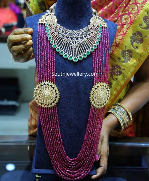 diamond necklace and ruby beads mala