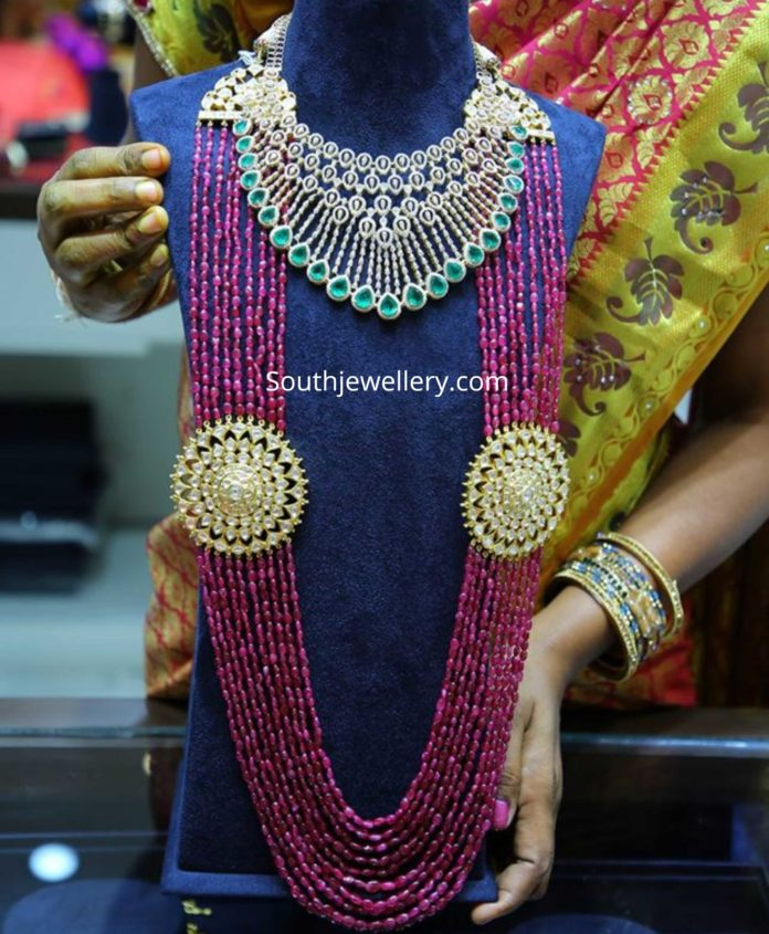 diamond necklace and ruby beads mala