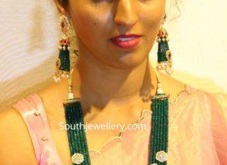 emerald beads haram and jhumkas