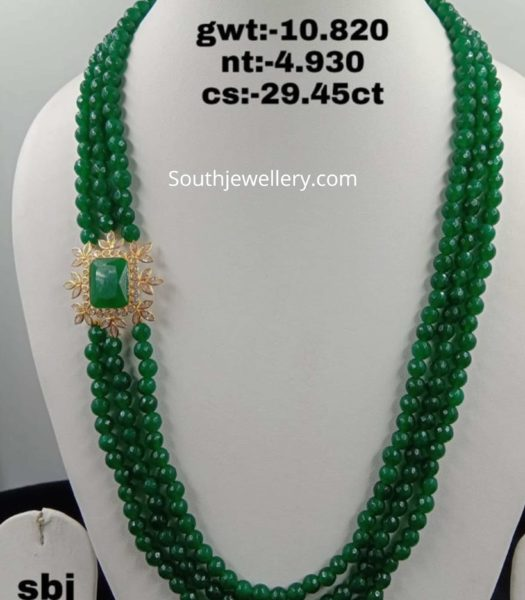 emerald beads haram with side pendant