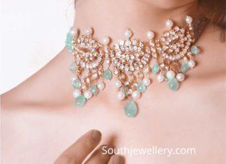 flat diamond emerald necklace