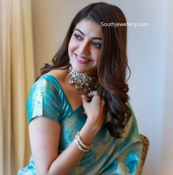 kajal aggarwal in polki diamond jewellery (2)